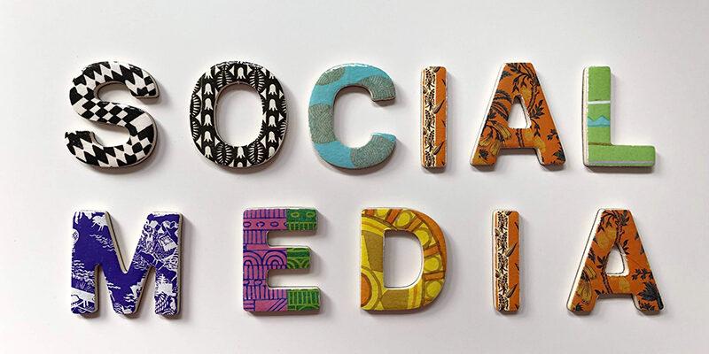 Assorted color social media signage