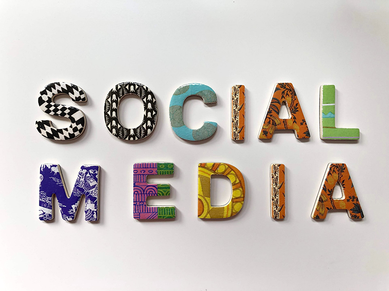 Assorted color social media signage