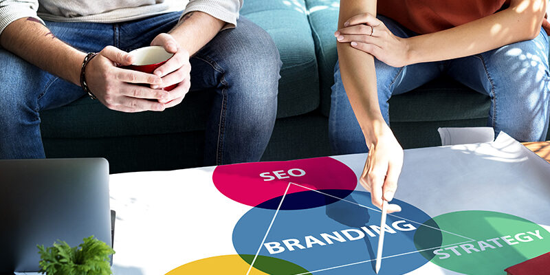 People working with brand and content strategy concept