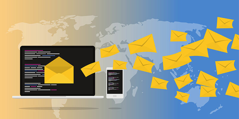 yellow mail envelopes flying from laptop screen