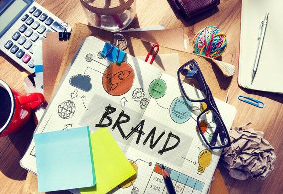 branding concept, word brand written on a notebook