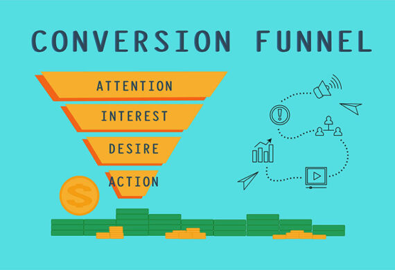 conversion funnel and sales process illustration concept