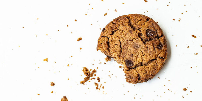 cookie with a bite on a white background
